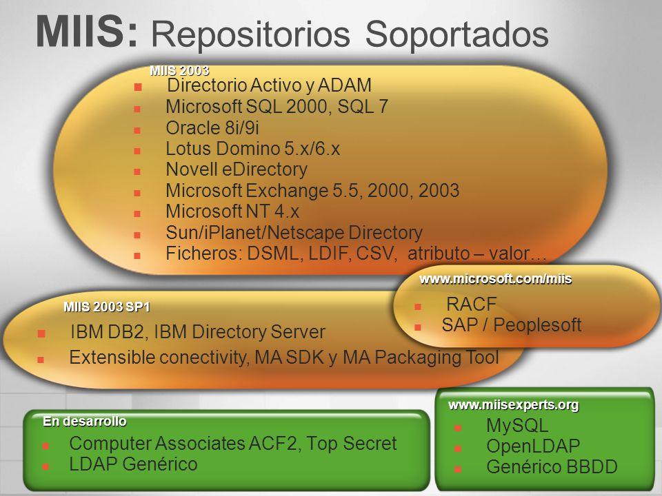 MIIS: Repositorios Soportados