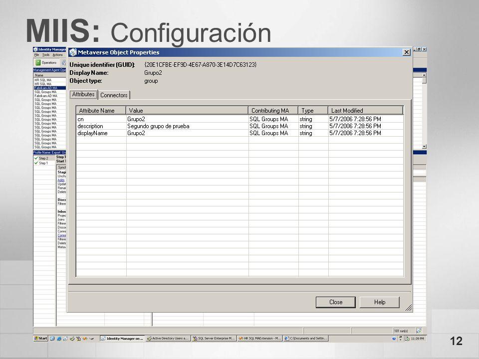 MIIS: Configuración