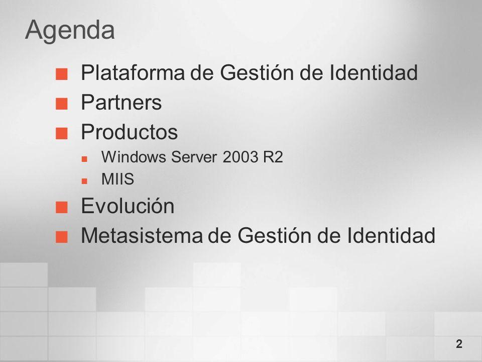 Agenda Plataforma de Gestión de Identidad Partners Productos Evolución
