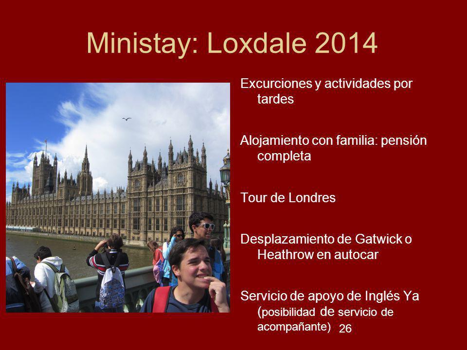 Ministay: Loxdale 2014 Excurciones y actividades por tardes