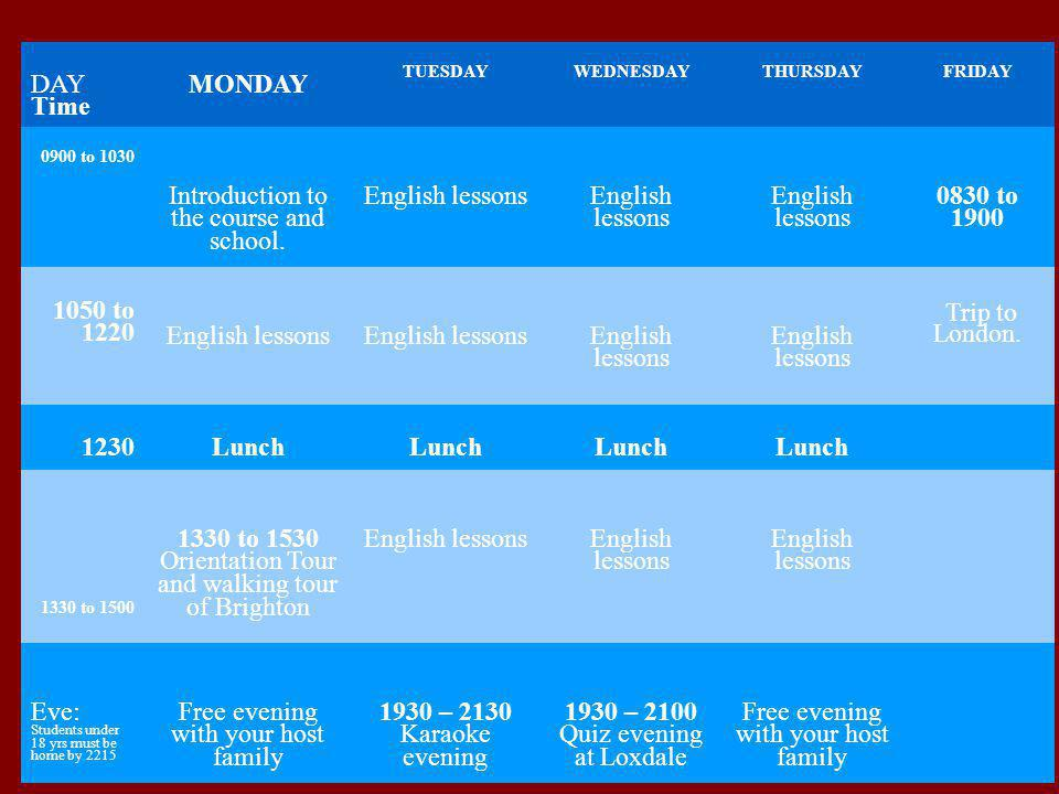 Introduction to the course and school. English lessons 0830 to 1900
