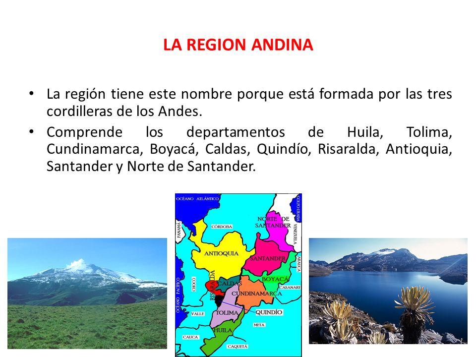 LA REGION ANDINA La región tiene este nombre porque está formada por las tres cordilleras de los Andes.