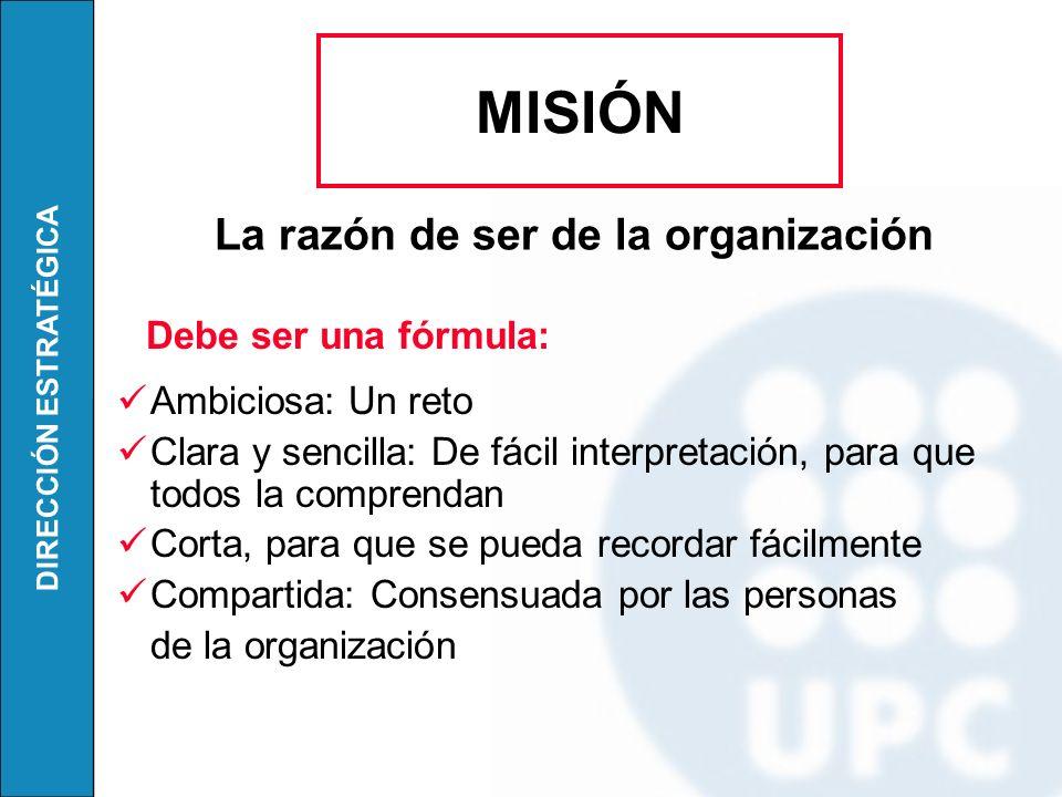 MISIÓN La razón de ser de la organización Ambiciosa: Un reto