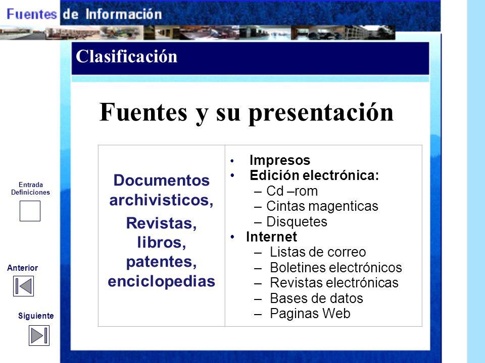 Fuentes y su presentación