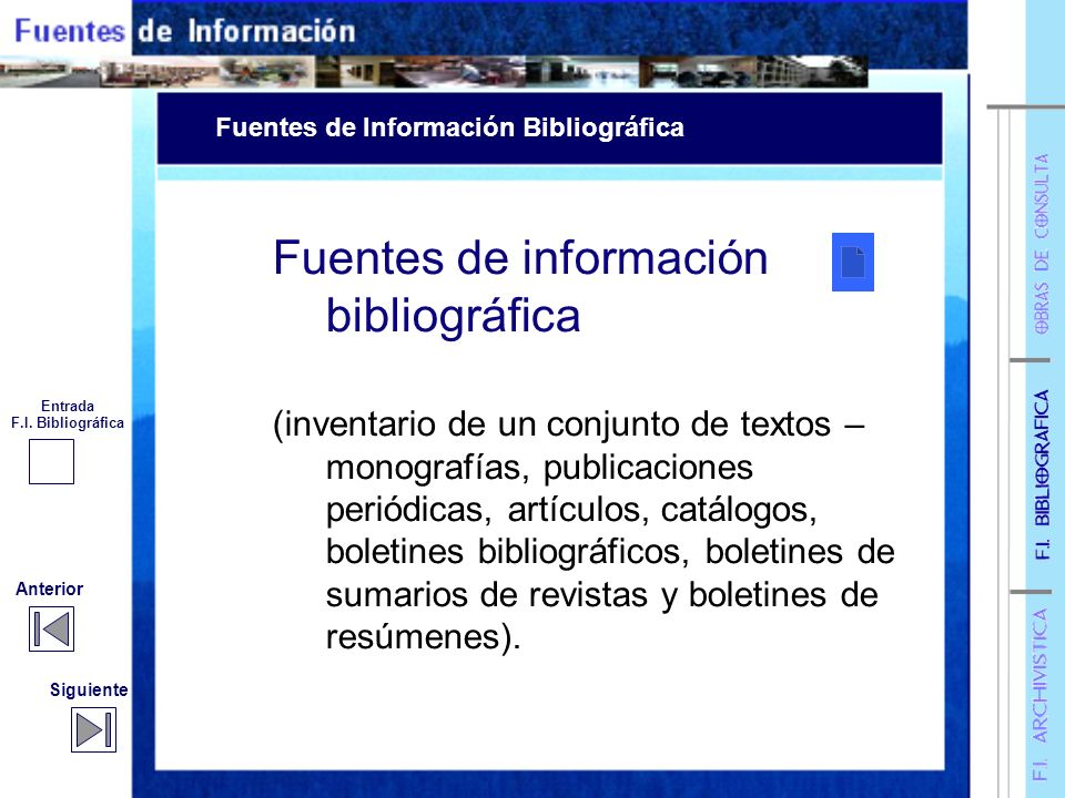 Fuentes de información bibliográfica