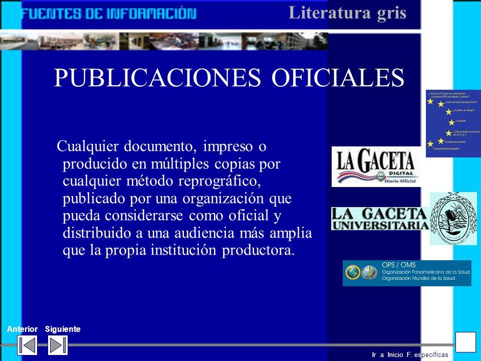 PUBLICACIONES OFICIALES
