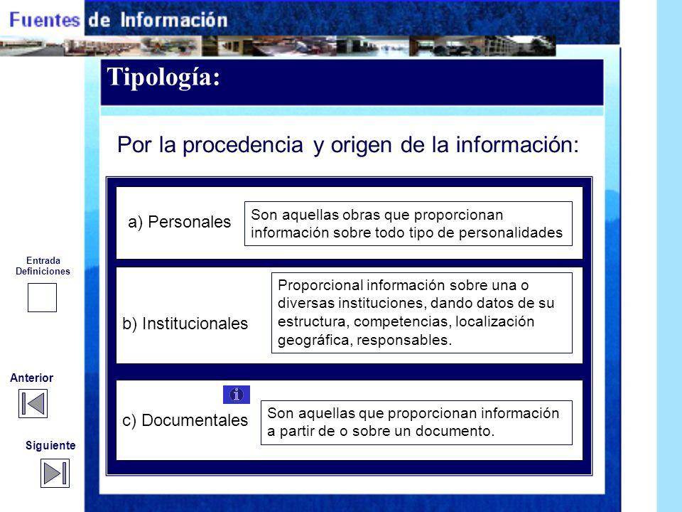 Tipología: Por la procedencia y origen de la información: