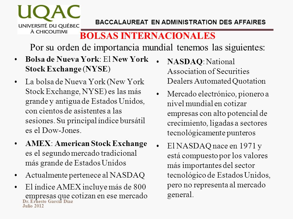 BOLSAS INTERNACIONALES Por su orden de importancia mundial tenemos las siguientes: