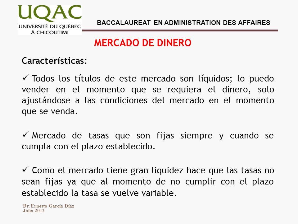 MERCADO DE DINERO Características:
