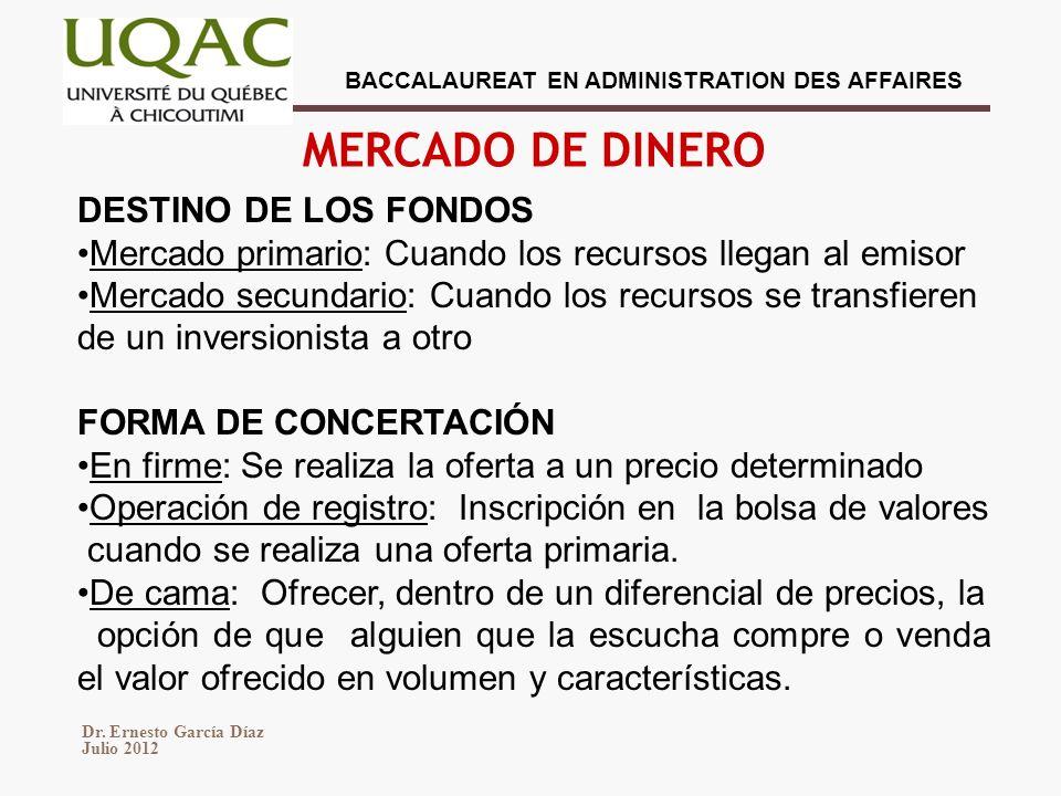 MERCADO DE DINERO DESTINO DE LOS FONDOS