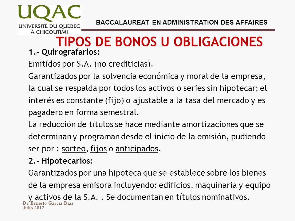 TIPOS DE BONOS U OBLIGACIONES