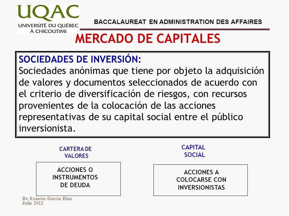 MERCADO DE CAPITALES SOCIEDADES DE INVERSIÓN: