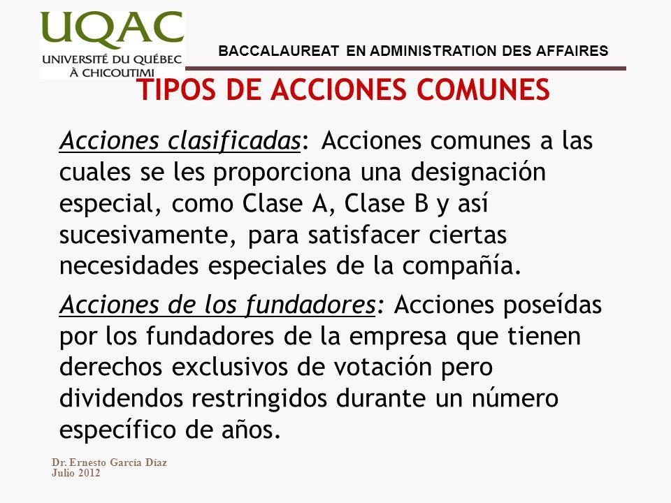 TIPOS DE ACCIONES COMUNES