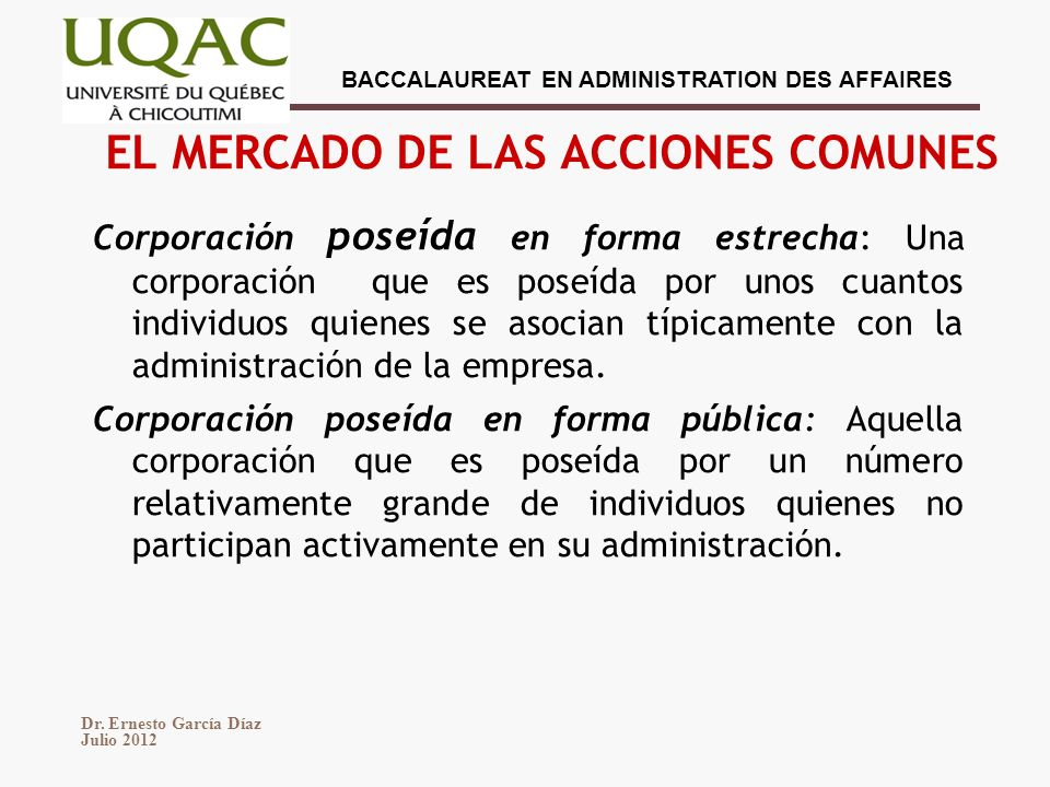 EL MERCADO DE LAS ACCIONES COMUNES