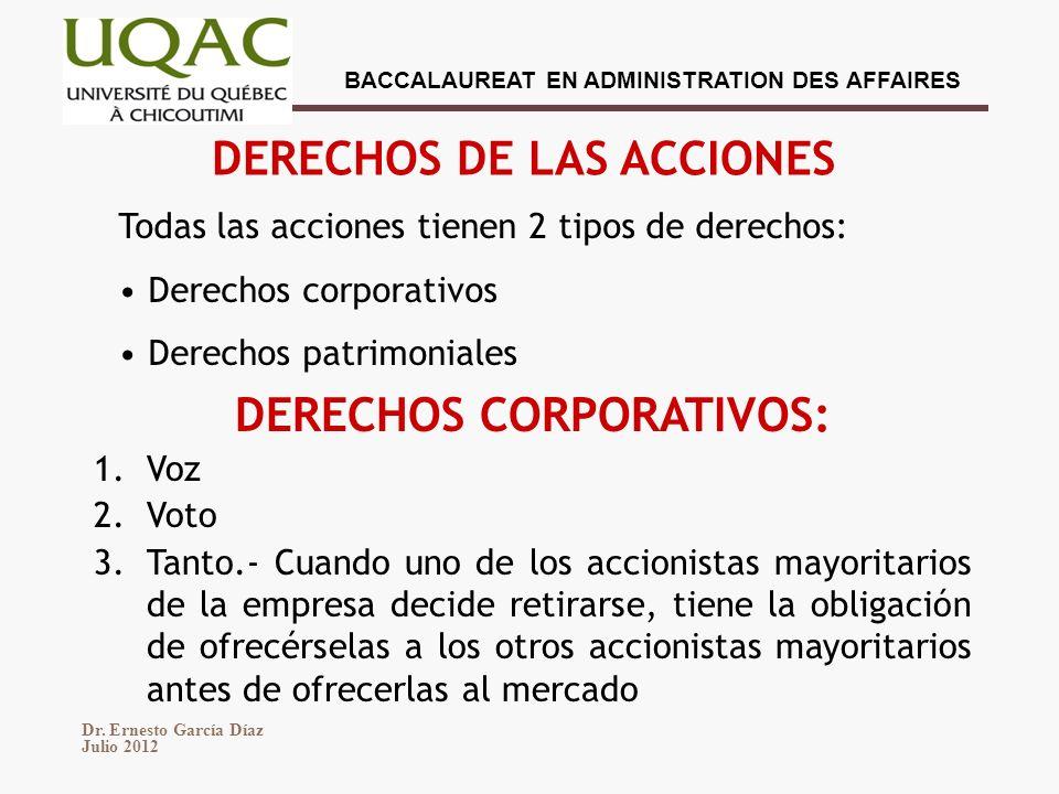 DERECHOS DE LAS ACCIONES DERECHOS CORPORATIVOS: