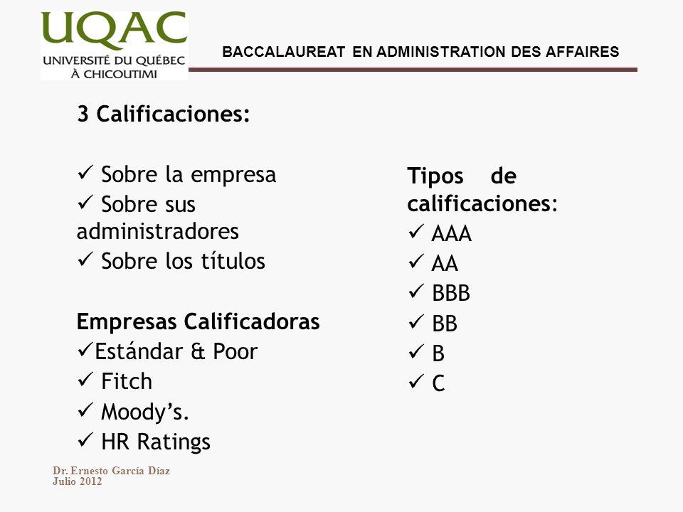 3 Calificaciones: Sobre la empresa. Sobre sus administradores. Sobre los títulos. Empresas Calificadoras.