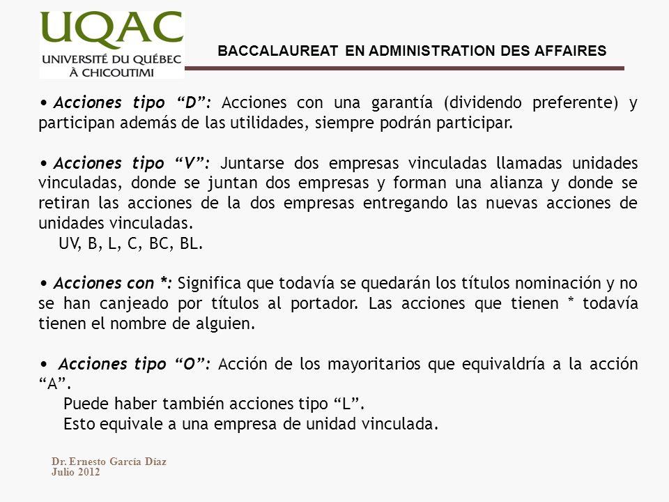 Acciones tipo D : Acciones con una garantía (dividendo preferente) y participan además de las utilidades, siempre podrán participar.