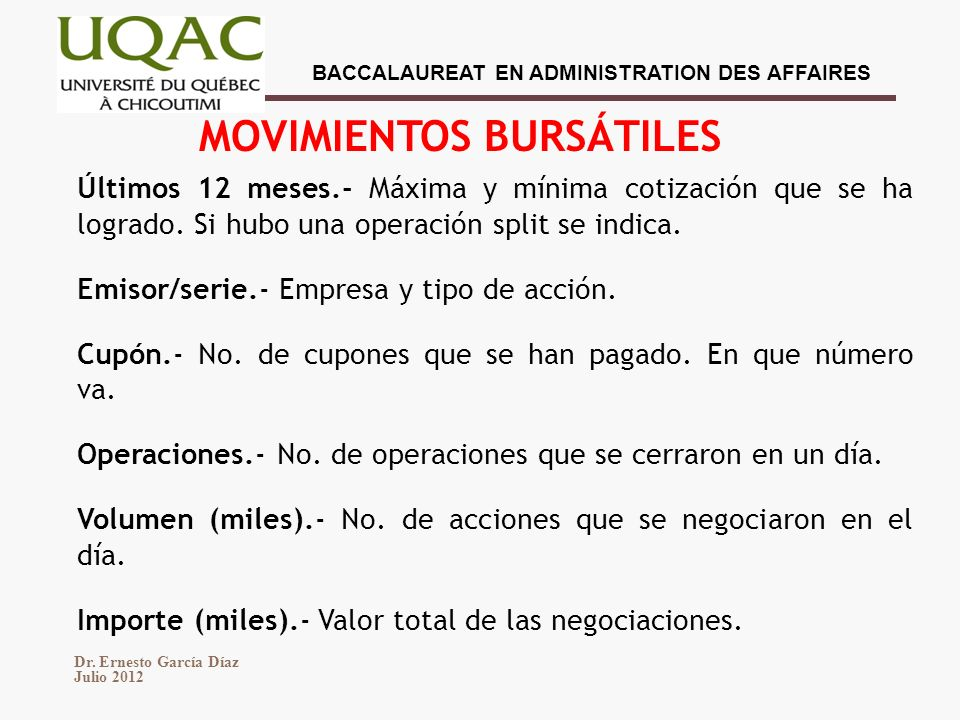 MOVIMIENTOS BURSÁTILES