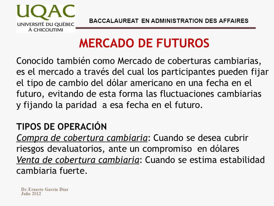 MERCADO DE FUTUROS Conocido también como Mercado de coberturas cambiarias, es el mercado a través del cual los participantes pueden fijar.
