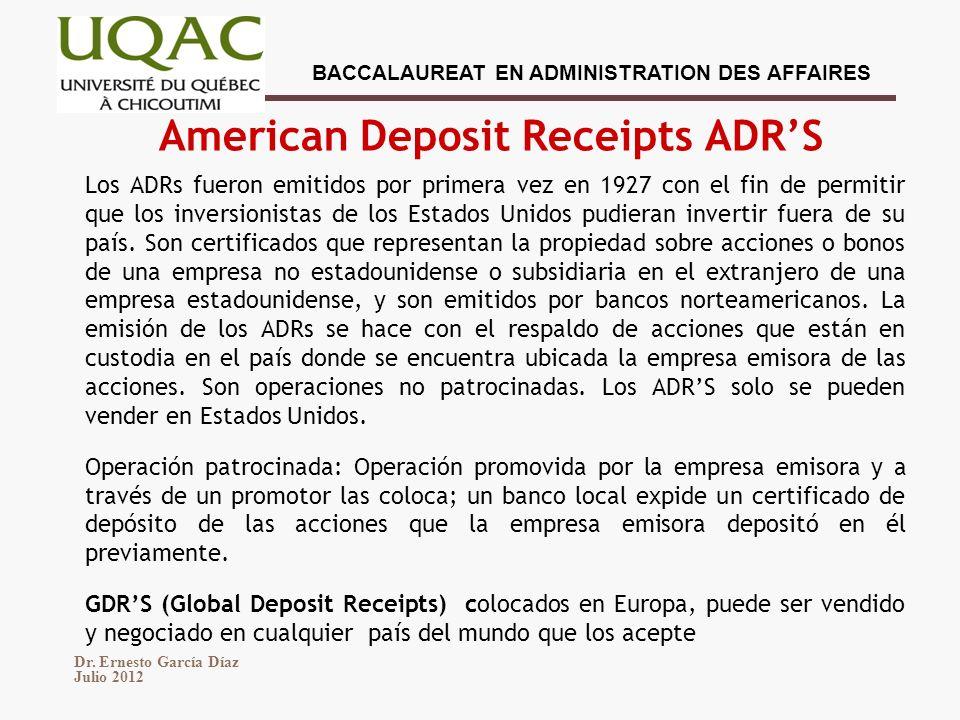 American Deposit Receipts ADR'S