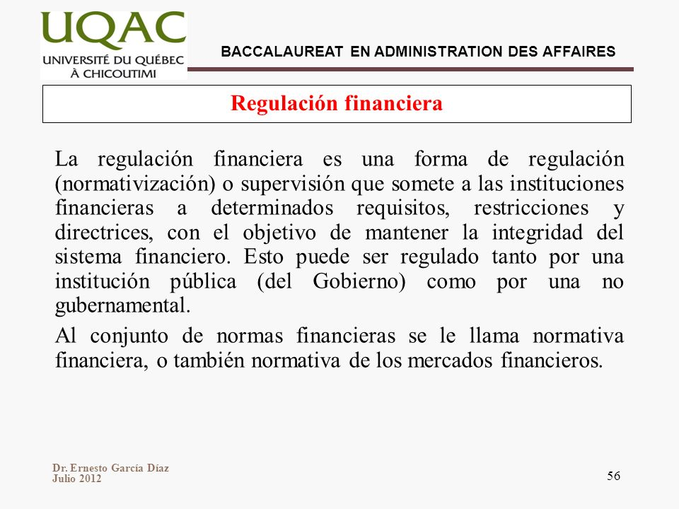 Regulación financiera