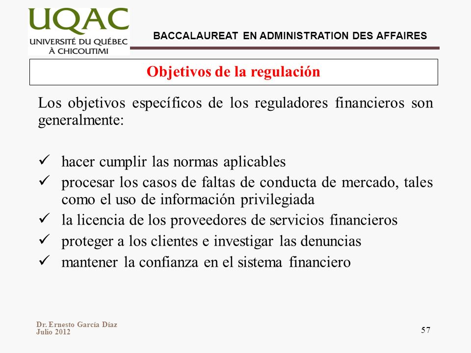 Objetivos de la regulación