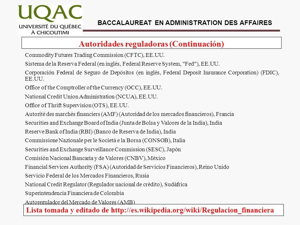 Autoridades reguladoras (Continuación)