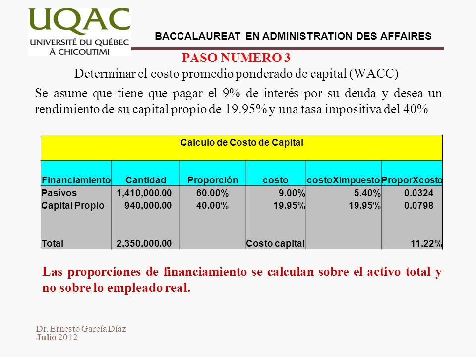 PASO NUMERO 3 Determinar el costo promedio ponderado de capital (WACC)