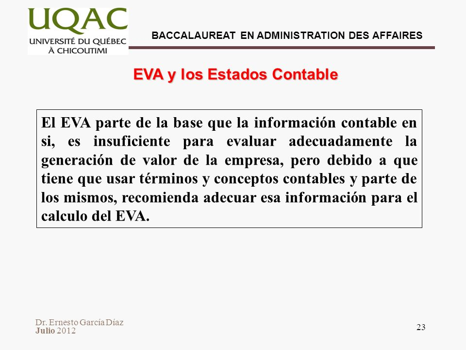 EVA y los Estados Contable