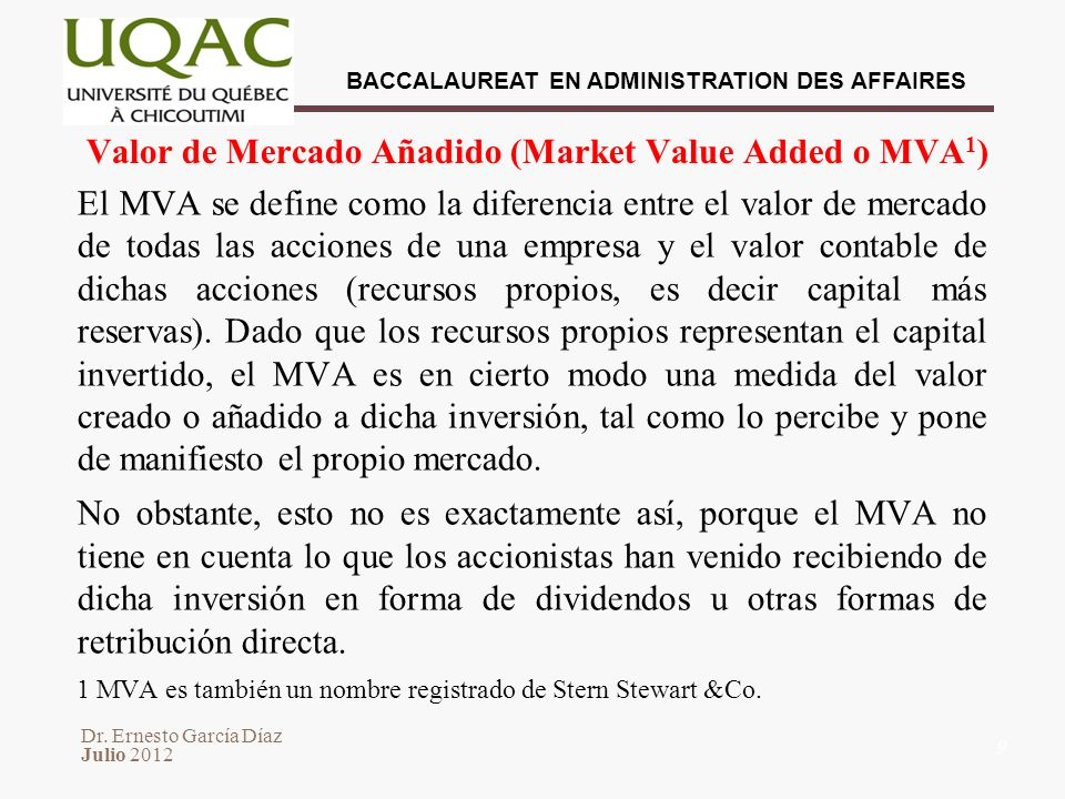 Valor de Mercado Añadido (Market Value Added o MVA1)