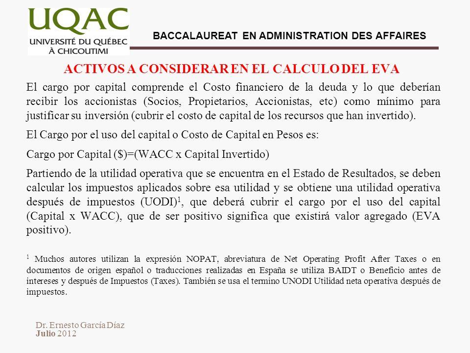 ACTIVOS A CONSIDERAR EN EL CALCULO DEL EVA