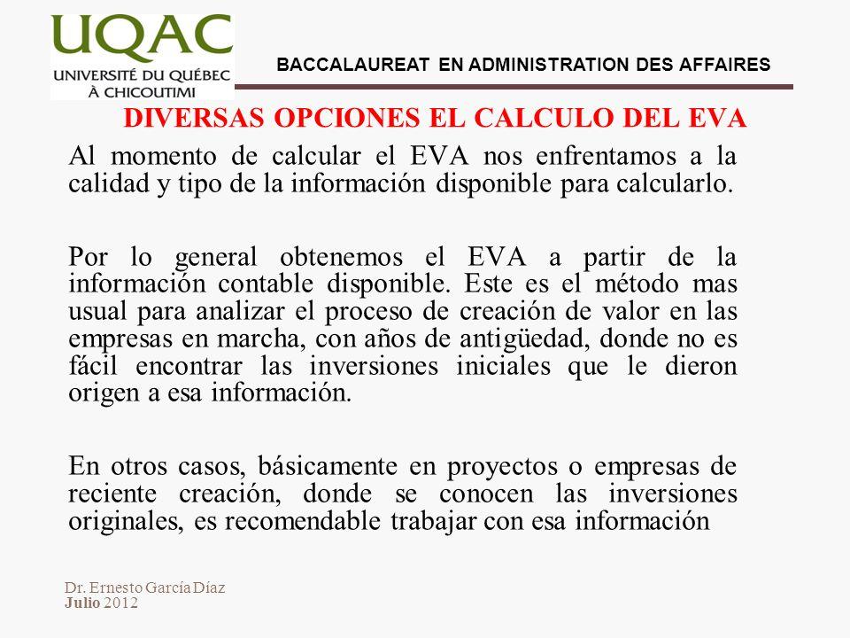 DIVERSAS OPCIONES EL CALCULO DEL EVA