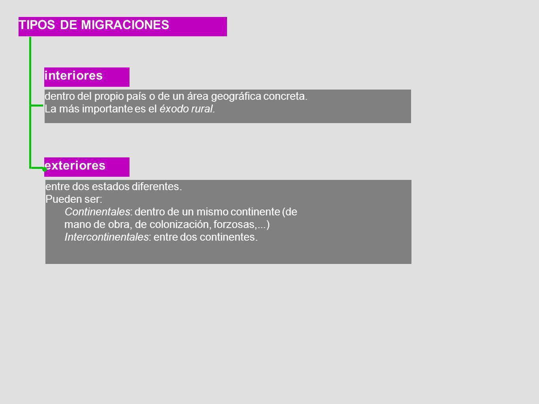 TIPOS DE MIGRACIONES interiores exteriores