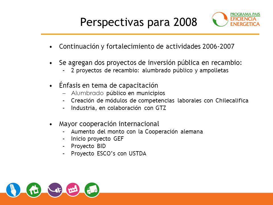 Perspectivas para 2008 Continuación y fortalecimiento de actividades 2006-2007. Se agregan dos proyectos de inversión pública en recambio: