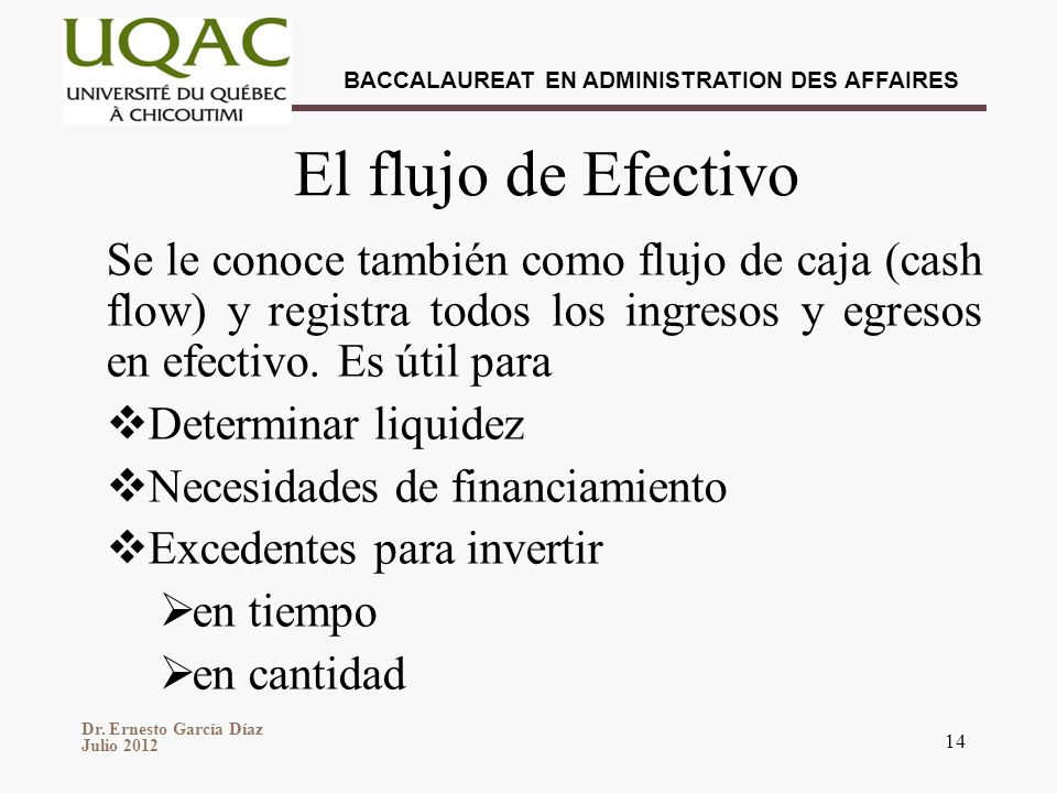 El flujo de Efectivo Se le conoce también como flujo de caja (cash flow) y registra todos los ingresos y egresos en efectivo. Es útil para.