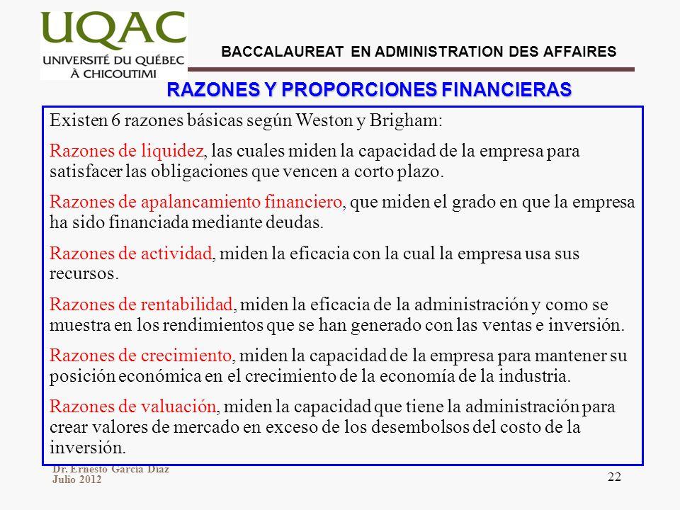 RAZONES Y PROPORCIONES FINANCIERAS