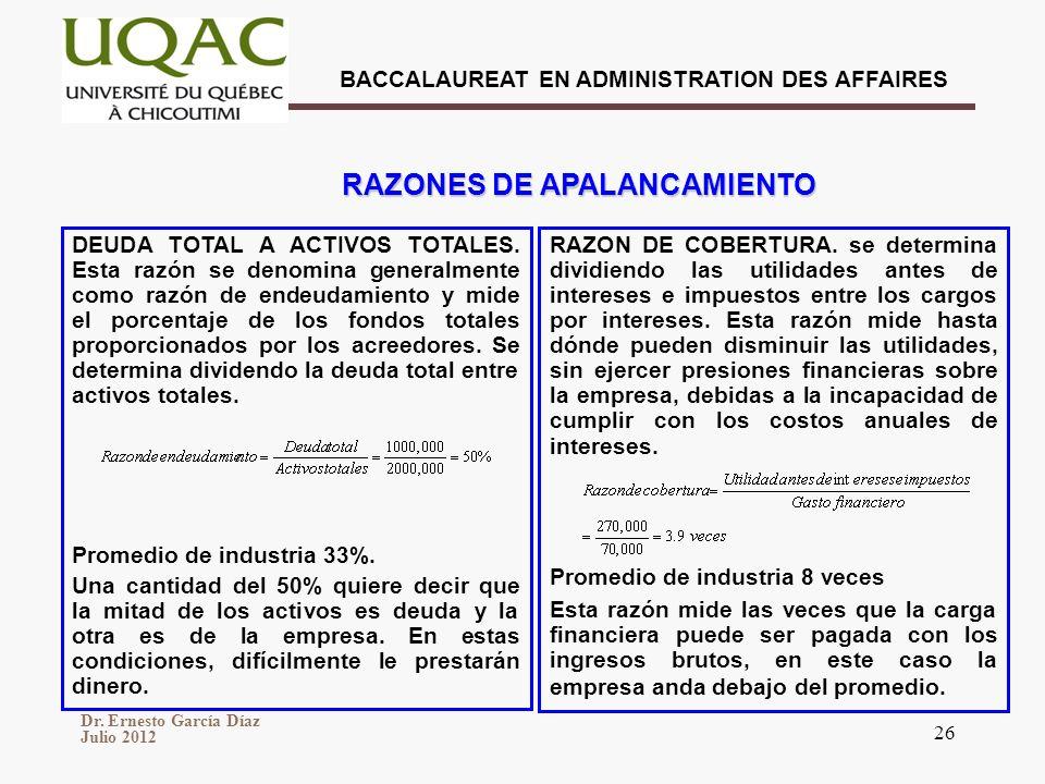RAZONES DE APALANCAMIENTO