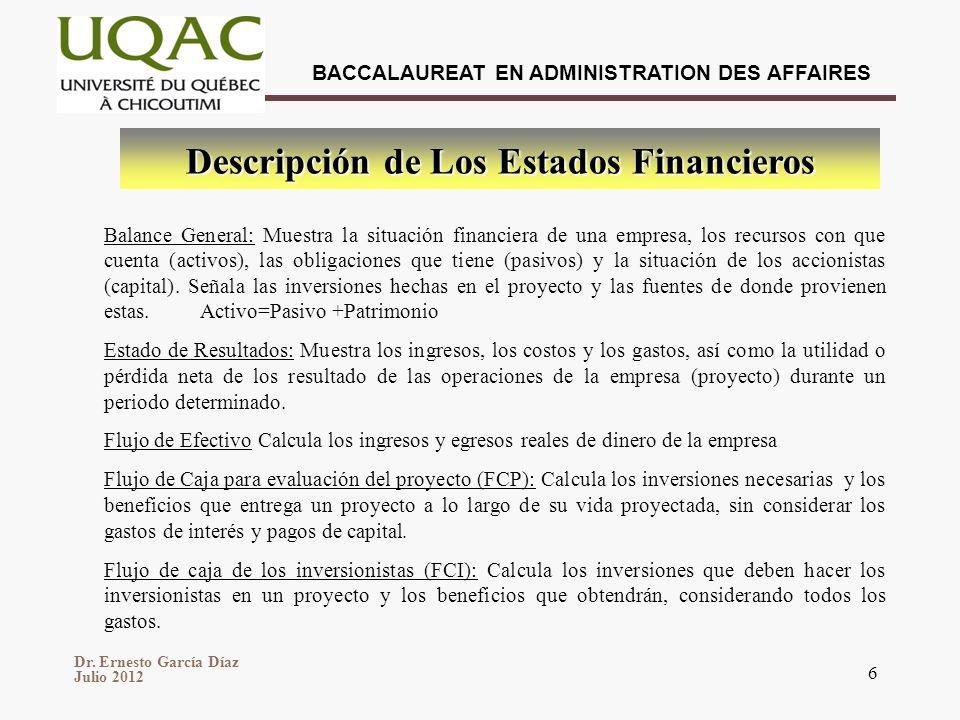 Descripción de Los Estados Financieros