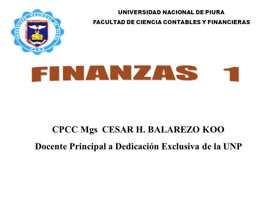 FINANZAS 1 CPCC Mgs CESAR H. BALAREZO KOO