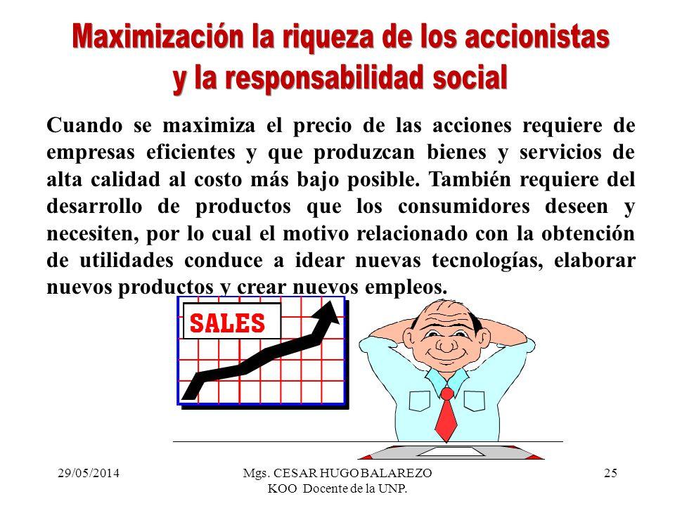 Maximización la riqueza de los accionistas y la responsabilidad social