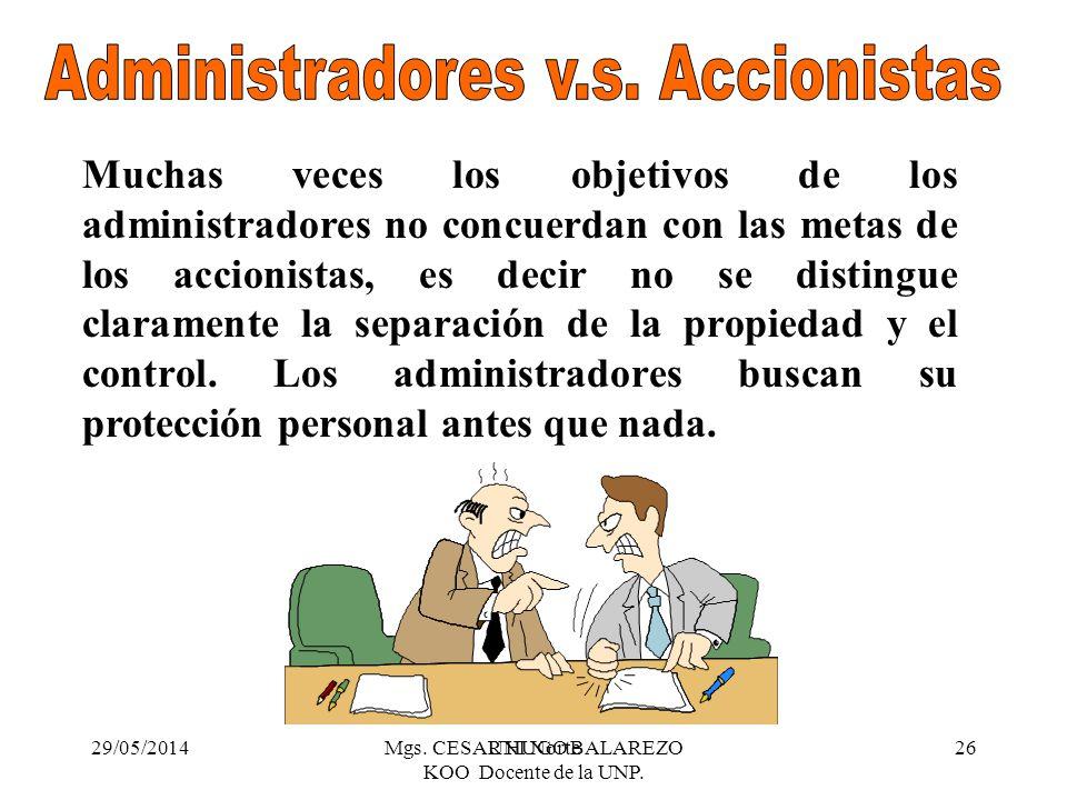 Administradores v.s. Accionistas