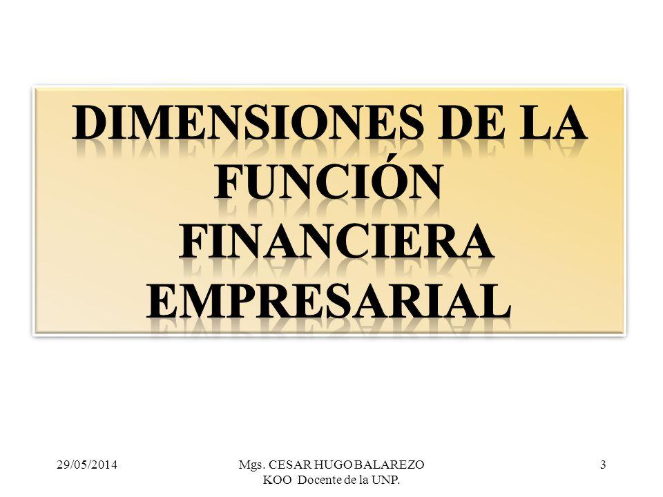 dimensiones de la Función Financiera Empresarial