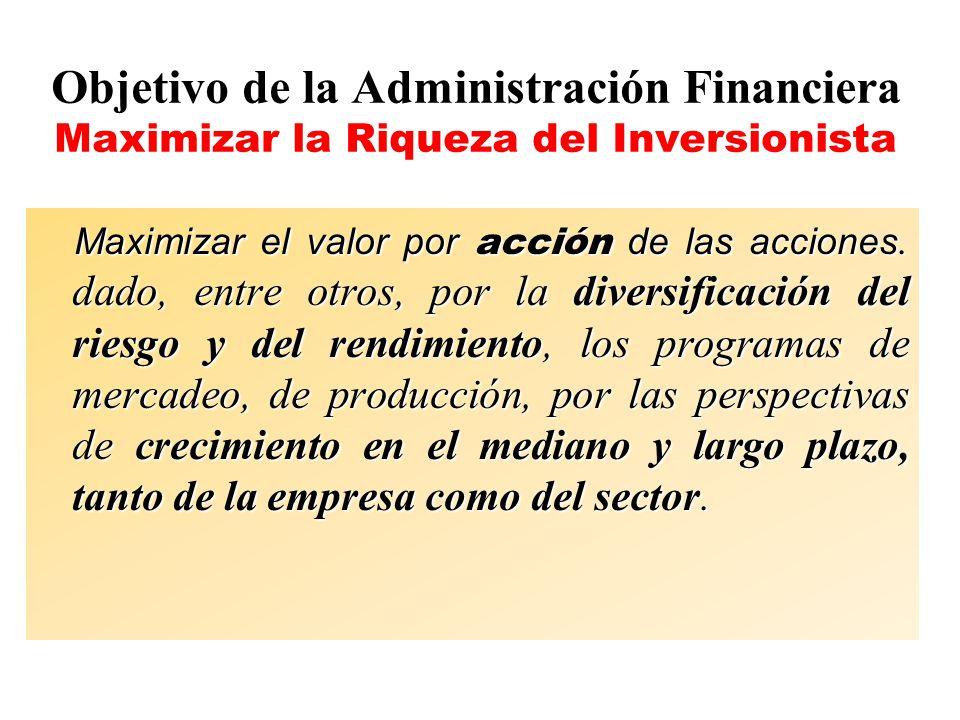 Objetivo de la Administración Financiera Maximizar la Riqueza del Inversionista