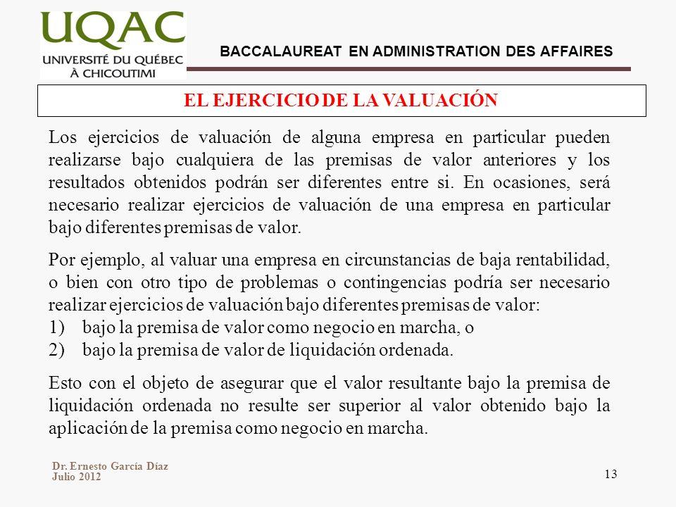 EL EJERCICIO DE LA VALUACIÓN