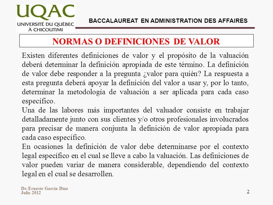 NORMAS O DEFINICIONES DE VALOR