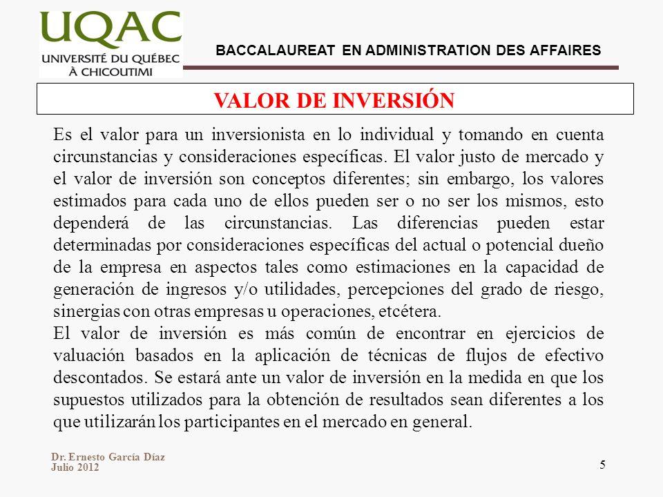 VALOR DE INVERSIÓN