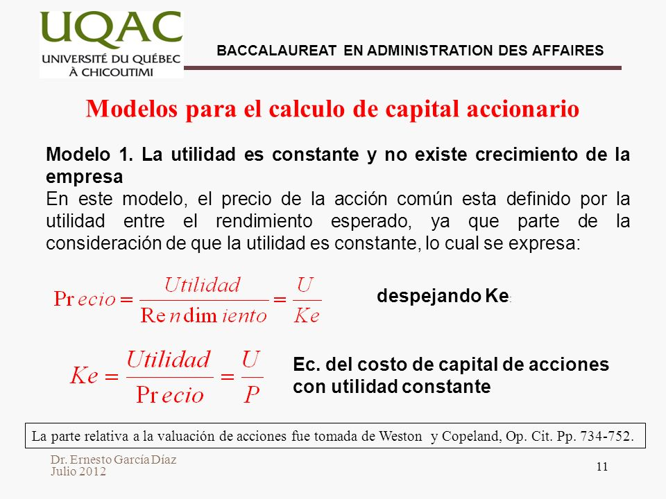 Modelos para el calculo de capital accionario