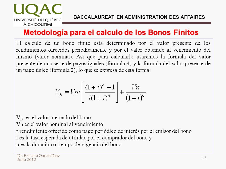Metodología para el calculo de los Bonos Finitos