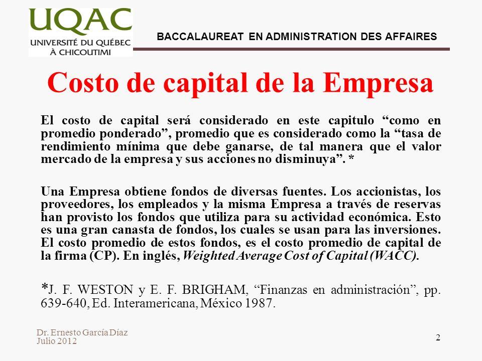Costo de capital de la Empresa