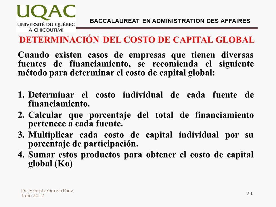 DETERMINACIÓN DEL COSTO DE CAPITAL GLOBAL
